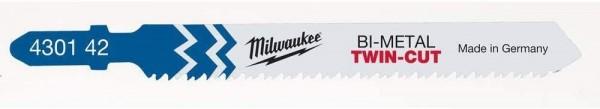 Milwaukee Stichsägebl Metall Bi-Metall 91 x 2,5/1,8 mm TWIN-CUT T123XF (5 Stk)