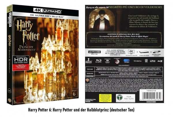 4K Blu-ray Harry Potter Teil 6 (Ton Deutsch)
