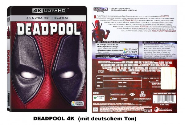 DEADPOOL (4K Ultra HD+ Blu-ray) deutscher Ton (2 Disc`s)