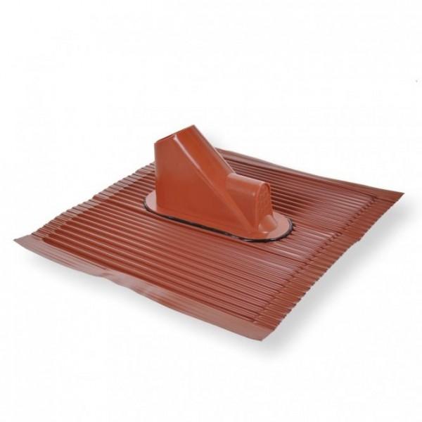 Alu-Dachziegel ziegelrot mit Kabelführung